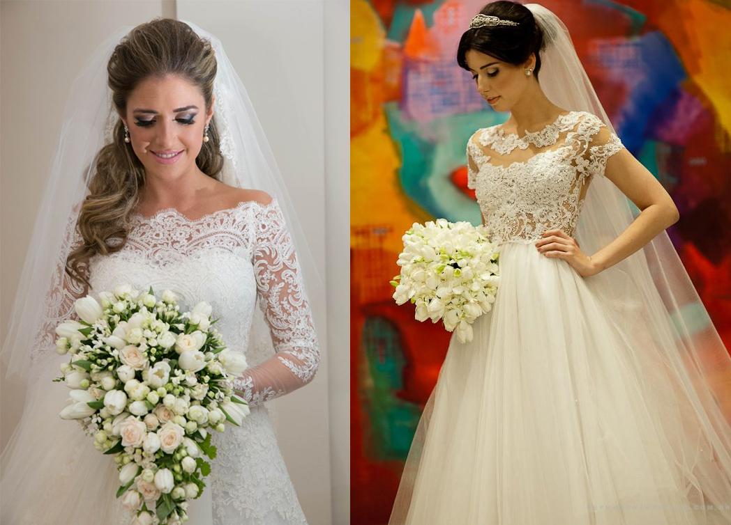 Vestido de noiva com renda e bordado